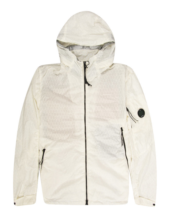 C.P. COMPANY AIR-NET ARM LENS JACKET IN ECRU