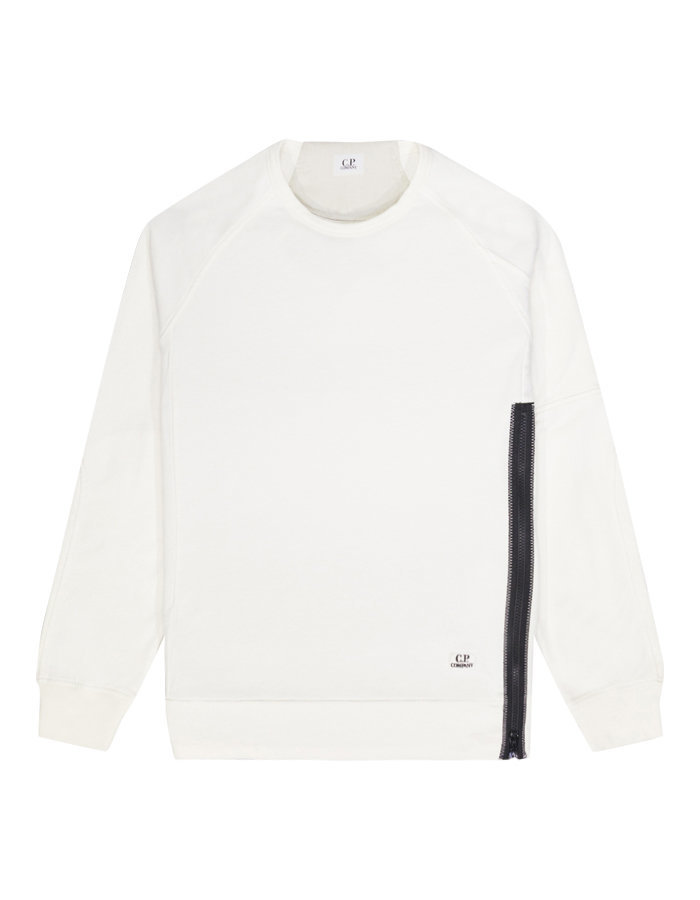 CP Company side zip crew sweatshirt in ecru