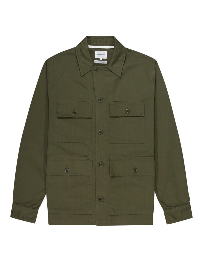 Norse projects mads herringbone shirt jacket in ivy green
