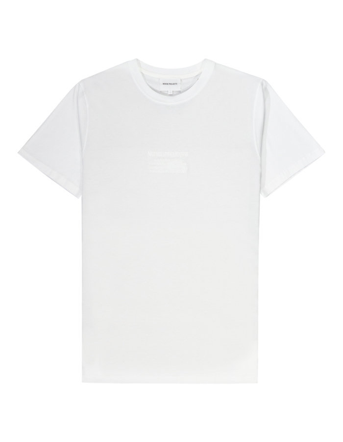 Norse projects embroidered niels t-shirt in white