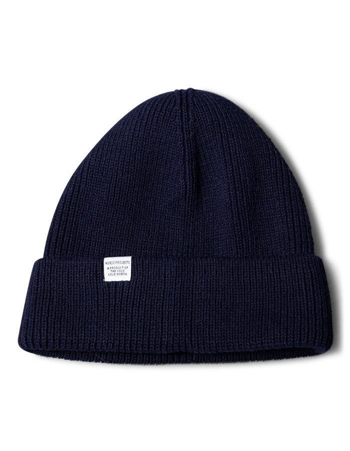 Norse projects beanie in navy