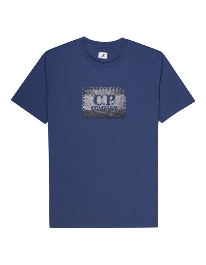 CP company stitch block t-shirt in blue