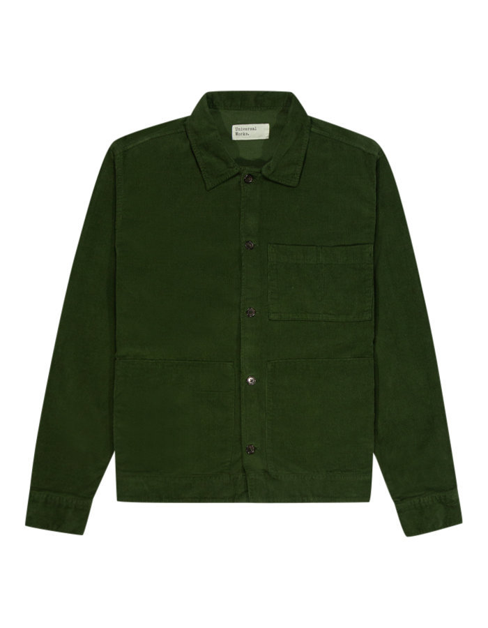 Universal works fine cord uniform shirt in green