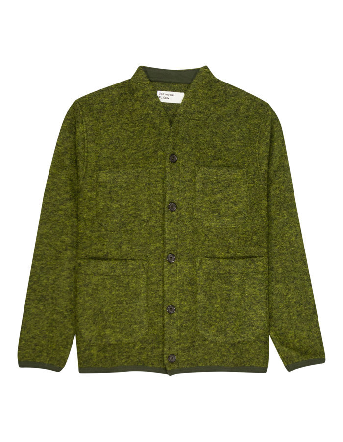 Universal works cardigan wool fleece in green