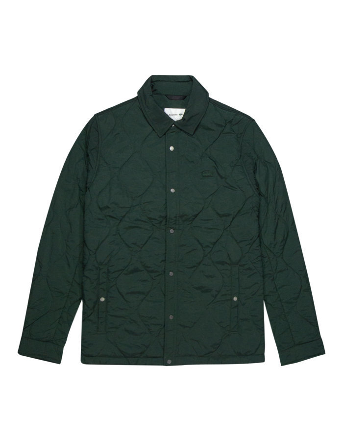 Lacoste tonal croc quilted jacket in green