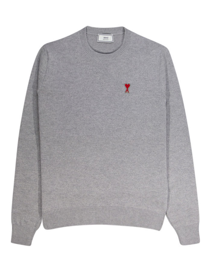 AMI a heart logo crew knit sweat in heather