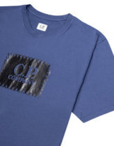CP company stitch block t-shirt in blue Thumbnail
